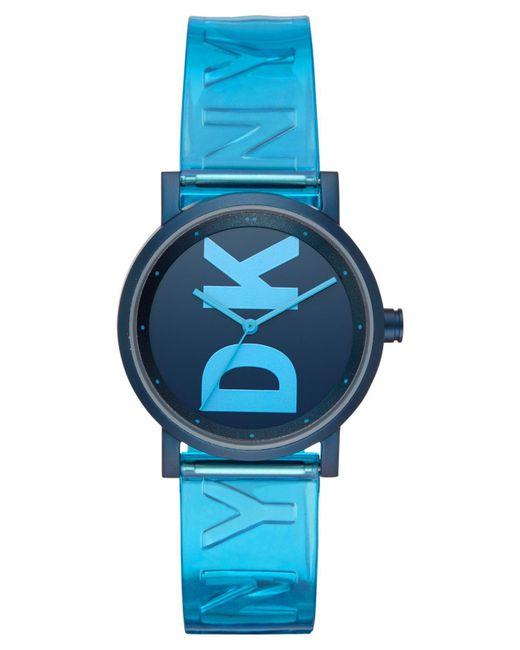 DKNY Soho Ocean Blue Polyurethane Strap Watch 34mm