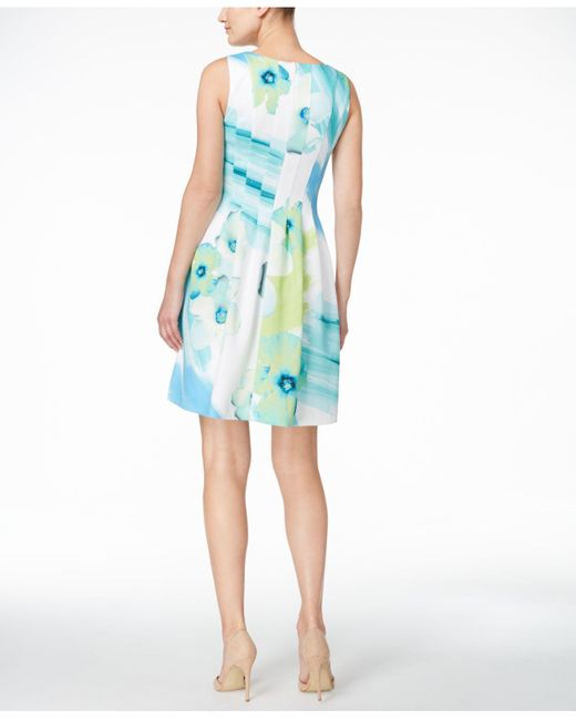 Calvin Klein Watercolor Floral Fit Amp Flare Scuba Dress In