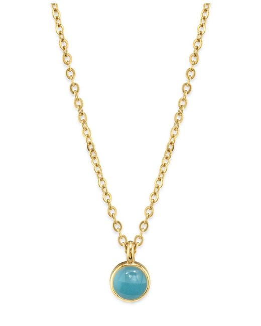 "2028 - Blue 14k Gold Dipped Small Round Enamel Necklace 16"" - Lyst"