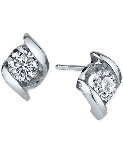 Sirena | Metallic Diamond Twist Stud Earrings (1/4 Ct. T.w.) In 14k White Gold | Lyst
