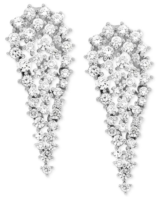 Wrapped in Love | Diamond Cluster Drop Earrings (2 Ct. T.w.) In 14k White Gold | Lyst