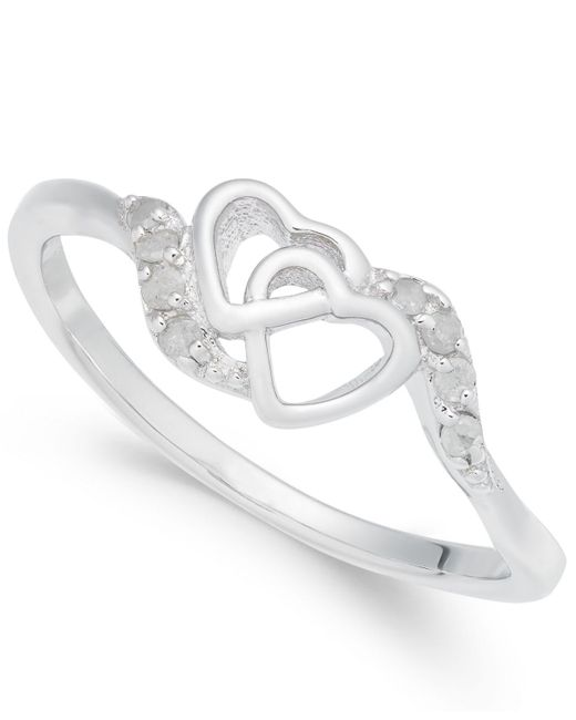 Macy's - Metallic Diamond Interlocked Heart Ring (1/10 Ct. T.w.) In Sterling Silver - Lyst