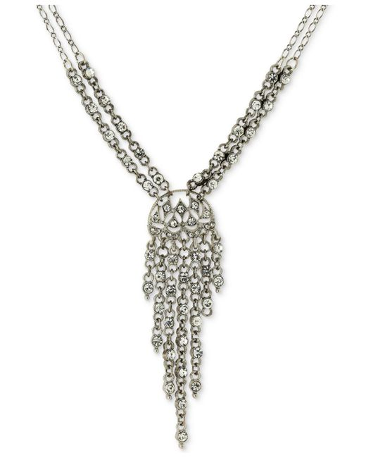 2028 | Metallic Silver-tone Multi-crystal Lariat Necklace | Lyst