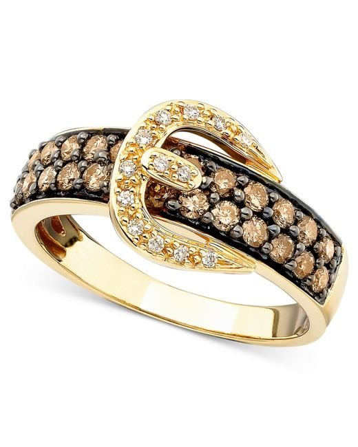 Le Vian | Brown Chocolate Diamond (5/8 Ct. T.w.) And White Diamond Accent Buckle Ring In 14k Gold | Lyst