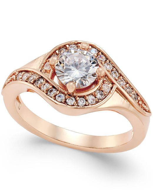 Charter Club - Red Rose Gold-tone Crystal Solitaire Twist Ring - Lyst