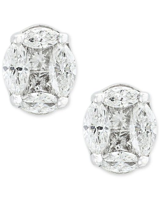 Effy Collection - Metallic Diamond Stud Earrings (1-1/8 Ct. T.w.) In 14k White Gold - Lyst
