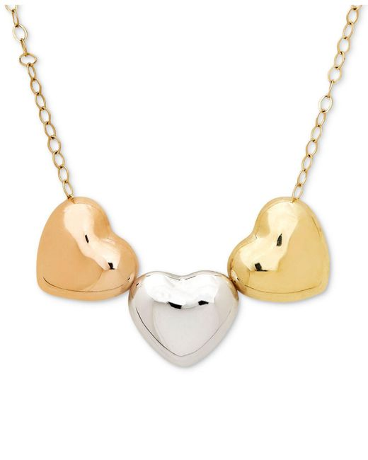 Macy's - Metallic Tri-color Polished Heart Pendant Necklace In 10k Gold, White Gold & Rose Gold - Lyst