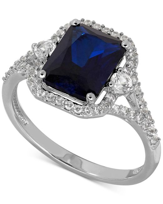 Macy's | Metallic Lab-created Sapphire (3 Ct. T.w.) And White Sapphire (3/8 Ct. T.w.) Ring In Sterling Silver | Lyst
