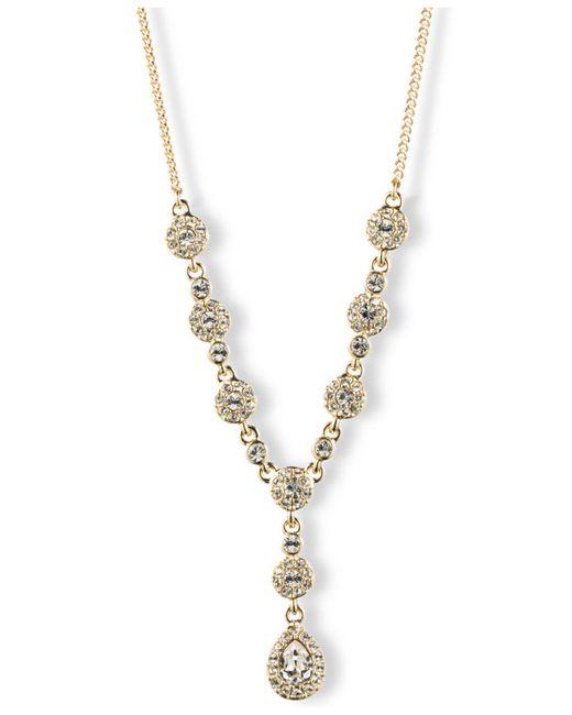 Givenchy - Metallic Silver-tone Crystal Y Necklace - Lyst