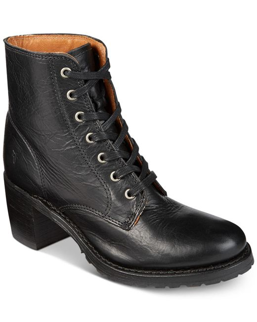 Frye   Black Women's Sabrina Lace-up Boots   Lyst