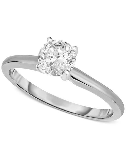 Macy's | Metallic 14k White Gold Certified Diamond Ring (1/2 Ct. T.w.) | Lyst