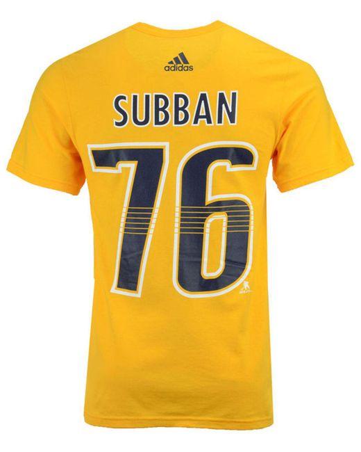 Adidas - Metallic Pk Subban Nashville Predators Silver Player T-shirt for Men - Lyst