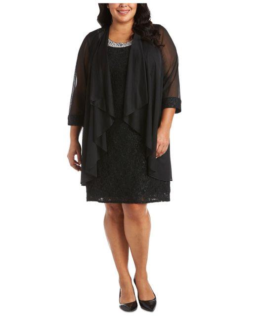 R & M Richards Black Plus Size Lace Dress & Jacket