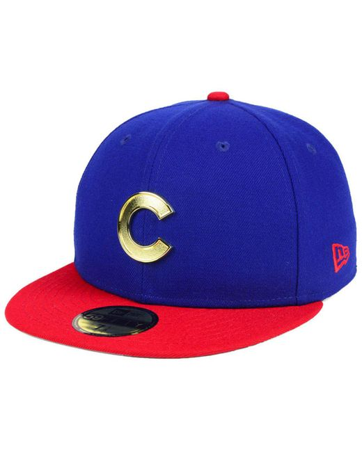 317b2c9890e KTZ - Blue Chicago Cubs Golden Finish 59fifty Fitted Cap for Men - Lyst ...