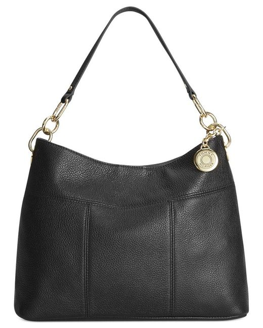 Tommy Hilfiger   Black Th Signature Leather Small Hobo   Lyst