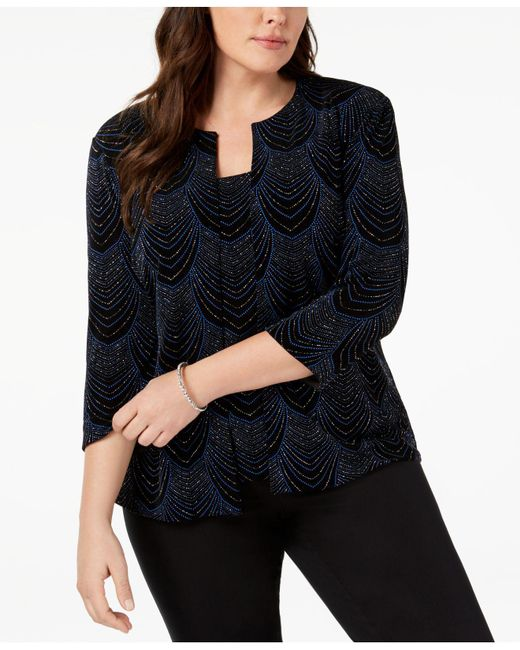 Alex Evenings - Black Plus Size Glitter-print Jacket & Shell - Lyst