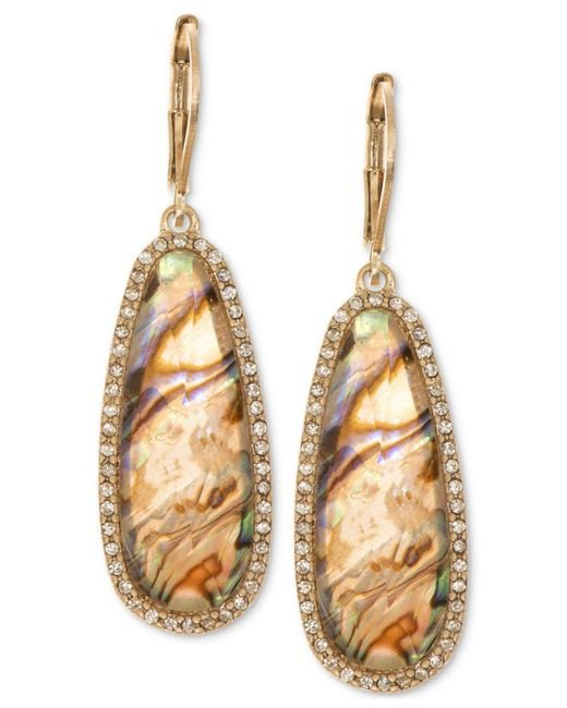 Lonna & Lilly - Metallic Gold-tone Iridescent Stone Drop Earrings - Lyst