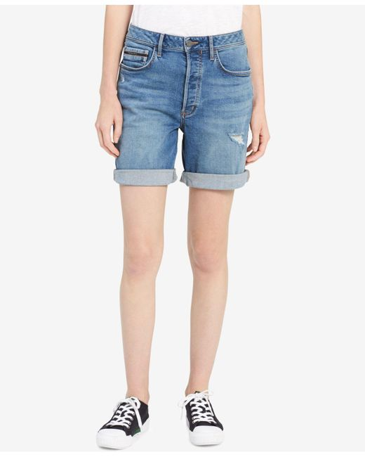 Calvin Klein Jeans - Blue Distressed Denim City Shorts - Lyst