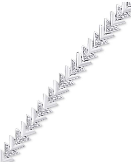 Macy's - Metallic Diamond Accent Chevron Link Bracelet In Silver-plate - Lyst