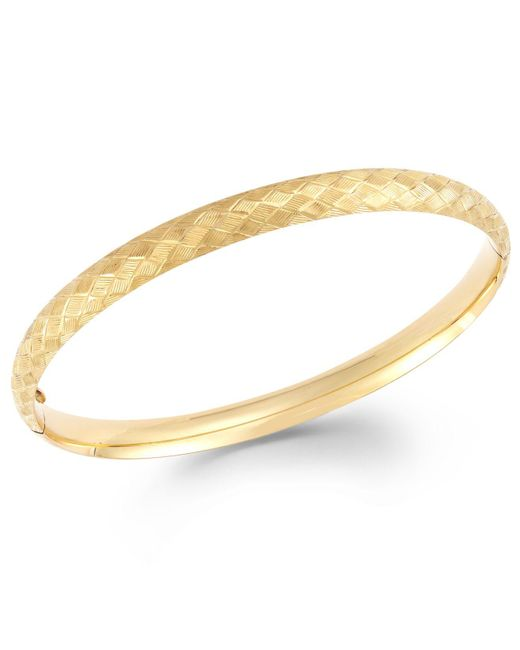 Macy's | Metallic Cross-stitch Bangle Bracelet In 14k Gold | Lyst