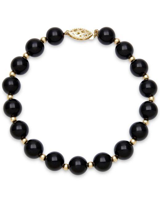 Macy's - Metallic Onyx Bead Bracelet (8mm) In 10k Gold - Lyst