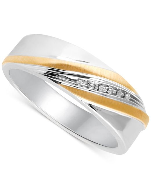 Beautiful Beginnings Metallic Men's Diamond Accent Wedding Band In 14k Gold And Sterling Silver for men