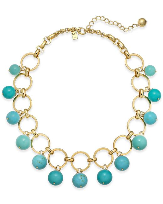 Kate Spade | Blue Gold-tone Colored Bead Statement Necklace | Lyst
