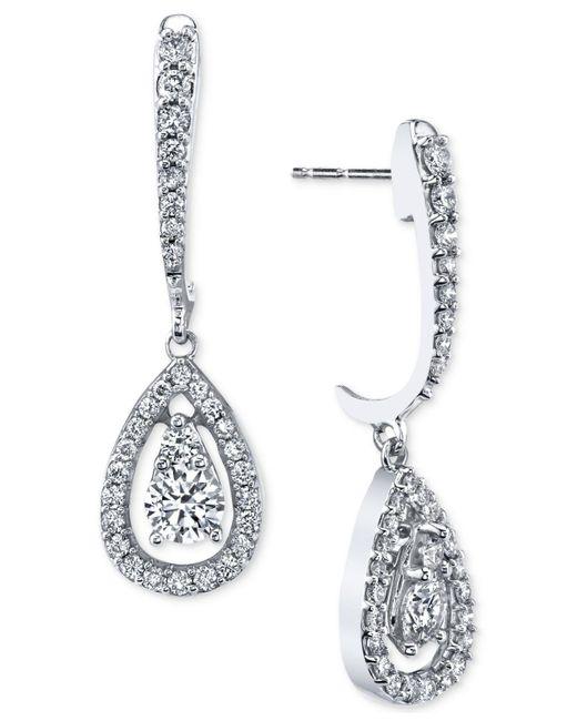 Macy's - Multicolor Diamond Orbital Teardrop Drop Earrings (1 Ct. T.w.) In 14k White Gold - Lyst