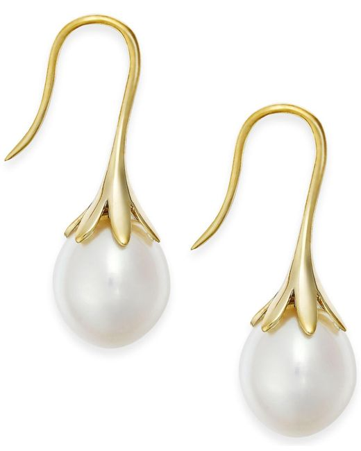 Macy's - Cultured Freshwater Pearl Drop Earrings 14k White Or Yellow Gold - Lyst