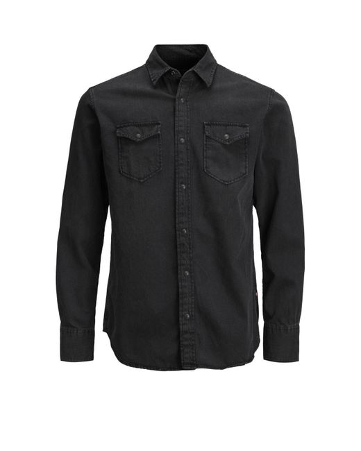 Jack & Jones Black Sheridan Push Button Denim Shirt for men