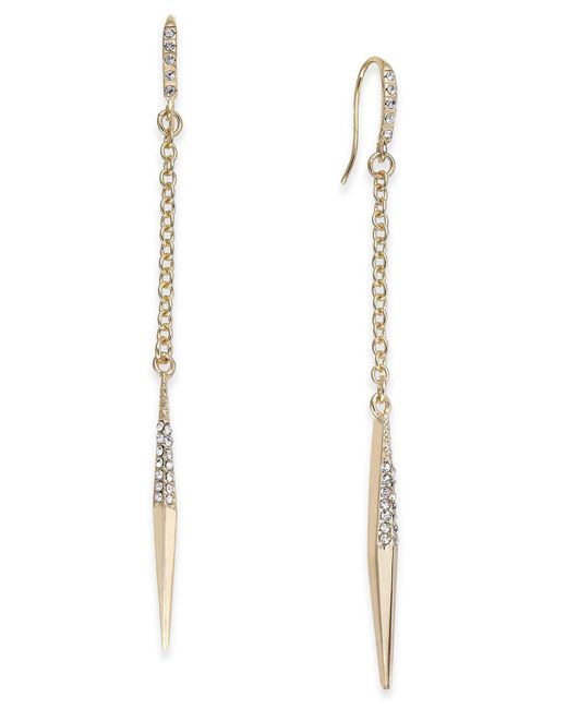 ABS By Allen Schwartz   Metallic Gold-tone Crystal Point Linear Drop Earrings   Lyst