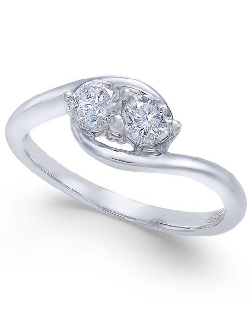 Macy's | Metallic Diamond Two Souls-one Love Twist Ring (1/2 Ct. T.w.) In 14k White Gold | Lyst