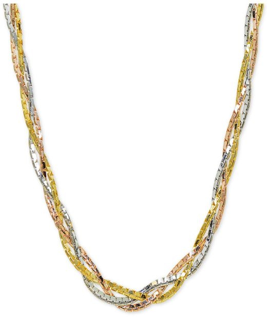 "Giani Bernini - Metallic Tricolor Braided 18"" Collar Necklace In Sterling Silver, 18k Gold-plate & 18k Rose Gold-plate, Created For Macy's - Lyst"