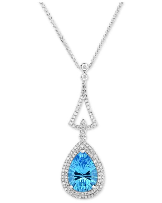 "Macy's - Blue Topaz (4-1/4 Ct. T.w.) & Diamond (3/8 Ct. T.w.) 18"" Pendant Necklace In 14k White Gold - Lyst"