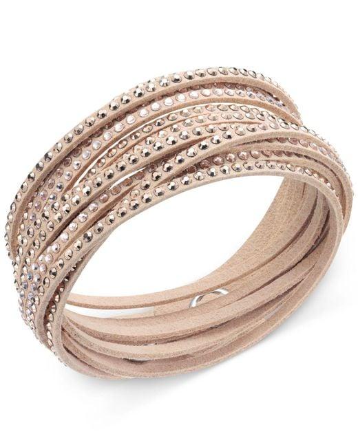 Swarovski Natural Bracelet, Gray Fabric Crystal Wrap Bracelet