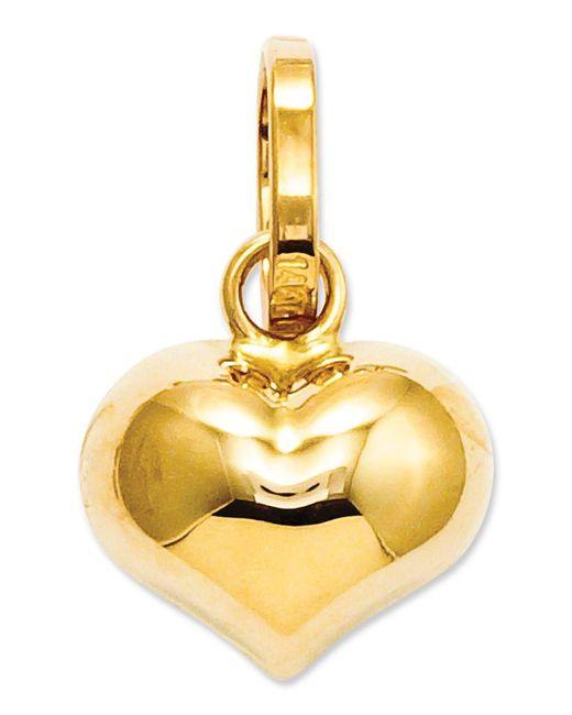 Macy's - Metallic 14k Gold Charm, Puffed Heart Charm - Lyst