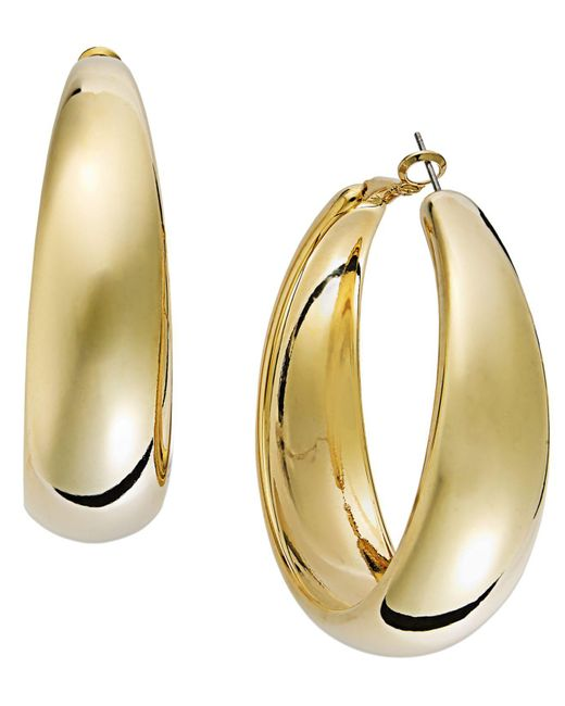 INC International Concepts | Metallic Gold-tone Wide Hoop Earrings | Lyst