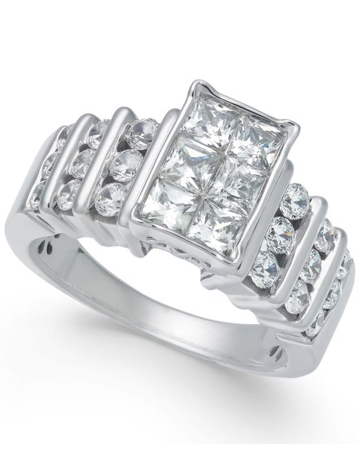 Macy's - Metallic Diamond Princess Engagement Ring (2 Ct. T.w.) In 14k White Gold - Lyst