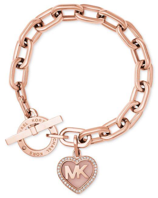 Michael Kors | Metallic Rose Gold-tone Pavé Logo Heart Toggle Bracelet | Lyst