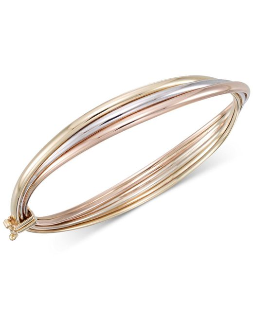 Macy's | Metallic Tri-color Overlap Three Bangle Bracelet In 10k Yellow, White And Rose Gold | Lyst