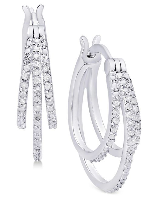 Macy's - Metallic Diamond Triple Hoop Earrings (1/10 Ct. T.w.) In Sterling Silver - Lyst