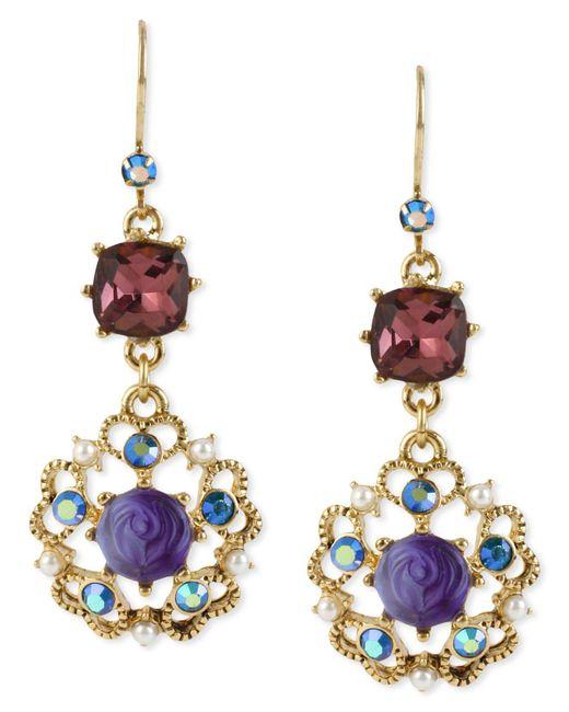 Betsey Johnson - Multicolor Antique Gold-tone Flower Medallion Crystal Drop Earrings - Lyst