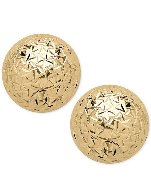 Macy's - Metallic Crystal-cut Ball Stud Earrings In 14k Gold - Lyst