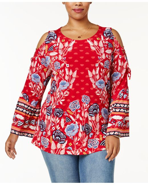 Style & Co. | Red Plus Size Mixed-print Cold-shoulder Top | Lyst