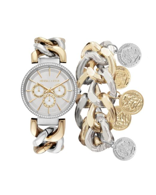Kendall + Kylie Metallic Two-tone Stainless Steel Metal Strap Chunky Chain Mock-chronograph Analog Watch And Coin Bracelet Set 40 Mm