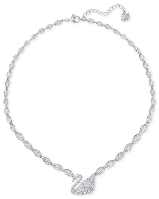 Swarovski - Metallic Silver-tone Pavé Crystal Swan Collar Necklace - Lyst