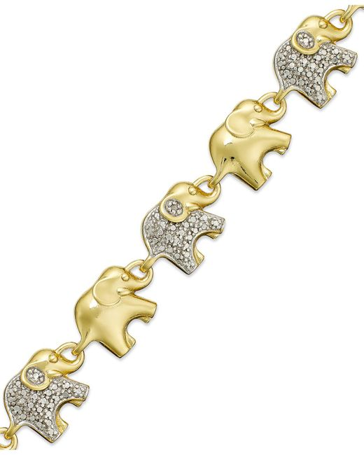 Macy's | Metallic Sterling Silver-plated Diamond Accent Linked Elephant Charm Bracelet | Lyst