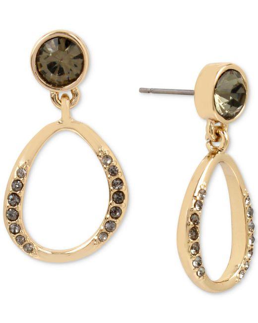 Kenneth Cole   Metallic Gold-tone Jet Crystal Drop Earrings   Lyst