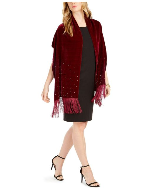 INC International Concepts Red Inc Embellished Velvet Wrap With Fringe, Created For Macy's