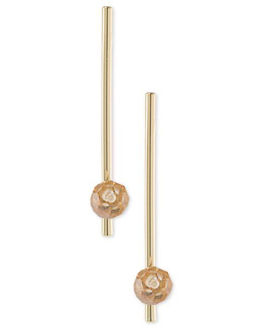 ABS By Allen Schwartz - Metallic Gold-tone Stone Bar Linear Drop Earrings - Lyst